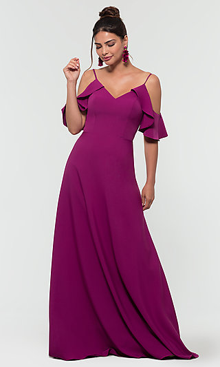 Cold-Shoulder Long Bridesmaid Dress by Kleinfeld