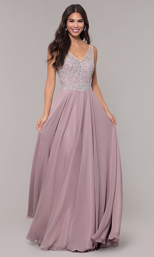 Image of v-neck long mocha prom dress with beaded bodice. Style: DQ-PL-2809 Front Image