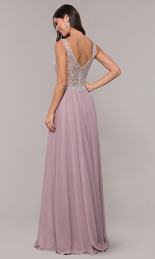 Image of v-neck long mocha prom dress with beaded bodice. Style: DQ-PL-2809 Back Image
