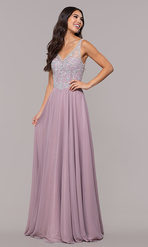 Image of v-neck long mocha prom dress with beaded bodice. Style: DQ-PL-2809 Detail Image 3