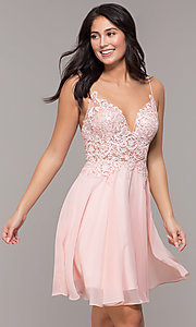Image of ribbon-embroidered v-neck short prom dress. Style: DJ-A8003 Front Image