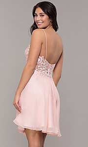Image of ribbon-embroidered v-neck short prom dress. Style: DJ-A8003 Back Image