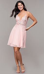 Image of ribbon-embroidered v-neck short prom dress. Style: DJ-A8003 Detail Image 3