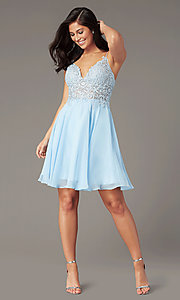Image of ribbon-embroidered v-neck short prom dress. Style: DJ-A8003 Detail Image 4