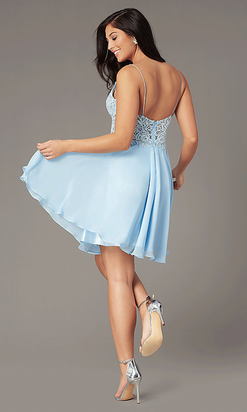 Image of ribbon-embroidered v-neck short prom dress. Style: DJ-A8003 Detail Image 5