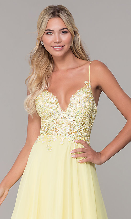 Image of ribbon-embroidered v-neck short prom dress. Style: DJ-A8003 Detail Image 6