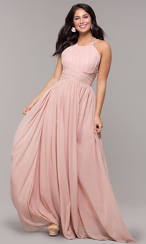 2a8aa1700df Image of long chiffon pleated-bodice formal prom dress. Style  SJP-KH105