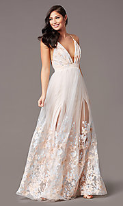 Image of butterfly-embroidered long backless formal dress. Style: SJP-KH106 Front Image