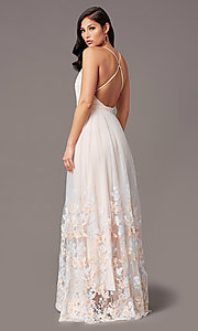 Image of butterfly-embroidered long backless formal dress. Style: SJP-KH106 Back Image
