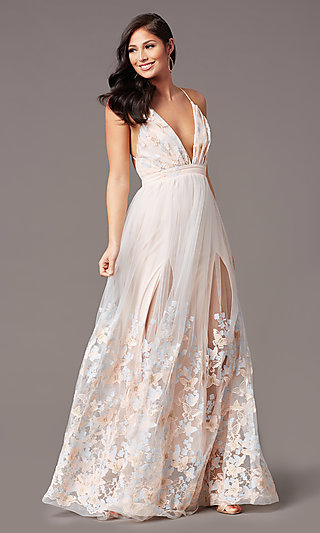 Butterfly-Embroidered Long Backless Formal Dress