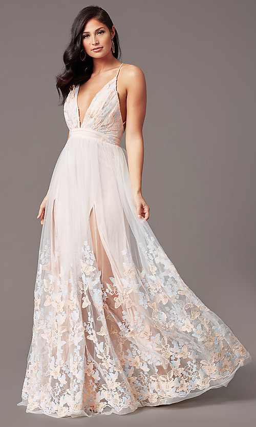 Image of butterfly-embroidered long backless formal dress. Style: SJP-KH106 Detail Image 2