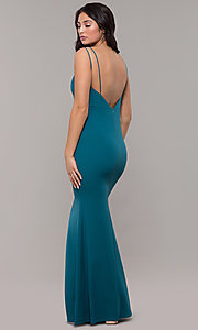 Image of backless teal blue long formal mermaid dress. Style: SJP-KH109 Back Image