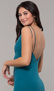 Image of backless teal blue long formal mermaid dress. Style: SJP-KH109 Detail Image 2