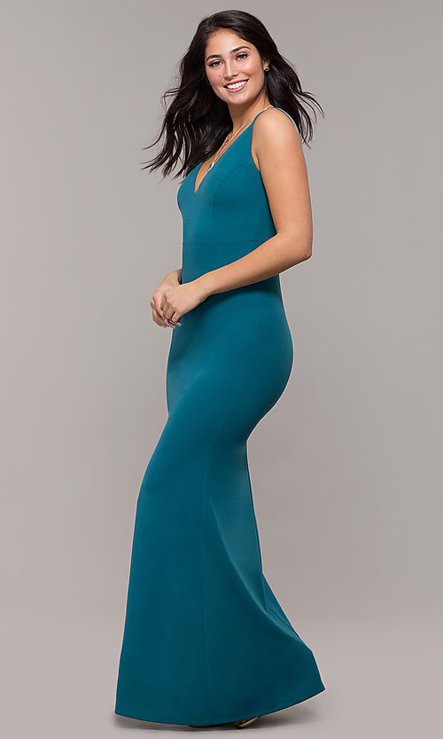 Image of backless teal blue long formal mermaid dress. Style: SJP-KH109 Detail Image 3