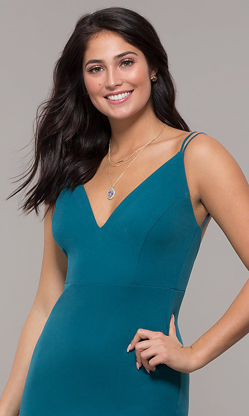Image of backless teal blue long formal mermaid dress. Style: SJP-KH109 Detail Image 1
