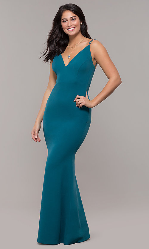 Image of backless teal blue long formal mermaid dress. Style: SJP-KH109 Front Image