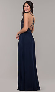 Image of deep v-neck long prom dress with embroidered lace. Style: SJP-KH111 Back Image