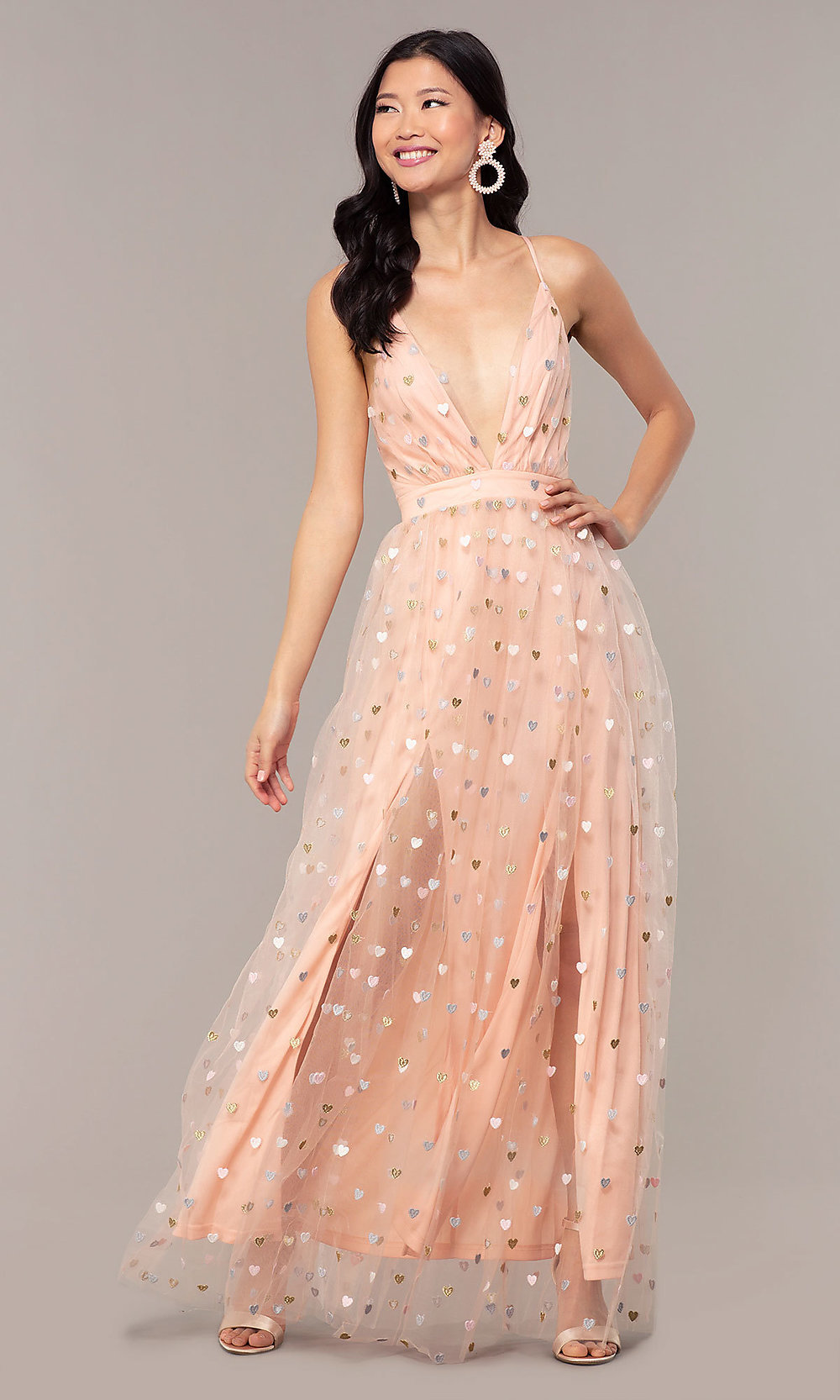 Free Shipping Princess V Neck Floral Embroidery Long Prom