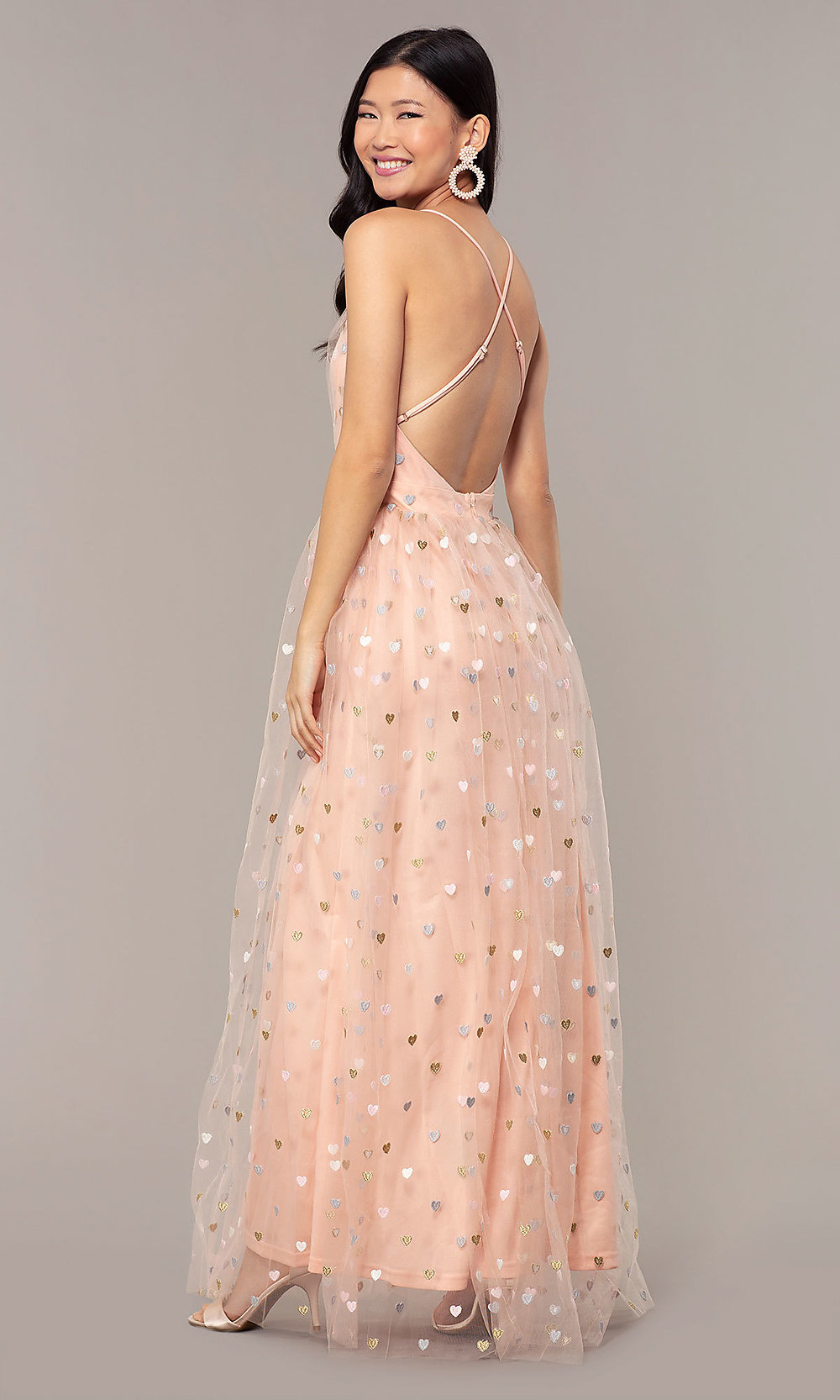 Embroidered-Bodice Pink Tulle Long Prom Dress-PromGirl