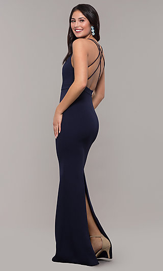 Back-Slit Long Navy Backless Formal Dress