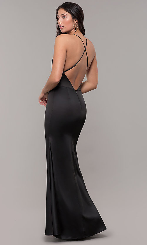 9963fd605b Image of sexy long black satin mermaid formal dress. Style  SJP-KH122 Front
