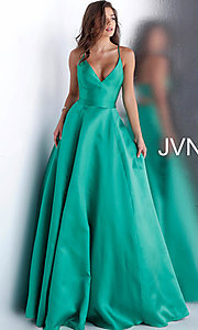 Image of long v-neck corset prom dress with back cut out. Style: JO-JVN-JVN66673 Front Image