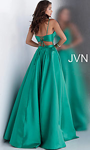 Image of long v-neck corset prom dress with back cut out. Style: JO-JVN-JVN66673 Back Image