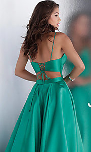 Image of long v-neck corset prom dress with back cut out. Style: JO-JVN-JVN66673 Detail Image 2
