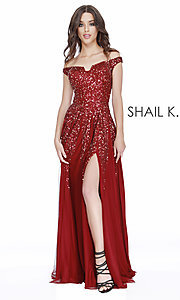 Image of long off-the-shoulder formal dress with sequins. Style: SK-12202 Detail Image 3