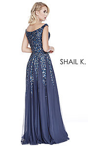 Image of long off-the-shoulder formal dress with sequins. Style: SK-12202 Back Image