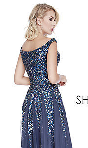 Image of long off-the-shoulder formal dress with sequins. Style: SK-12202 Detail Image 2