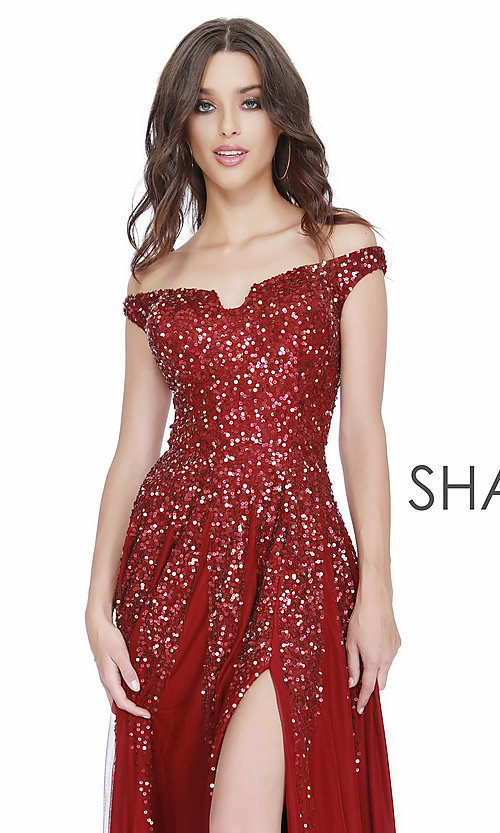 Image of long off-the-shoulder formal dress with sequins. Style: SK-12202 Detail Image 4
