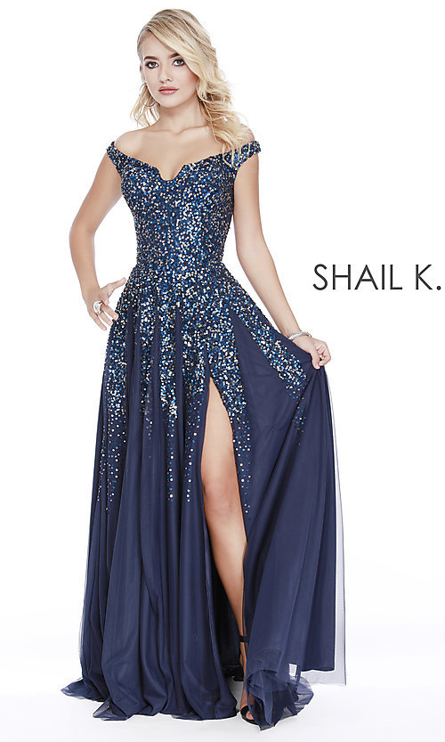 Image of long off-the-shoulder formal dress with sequins. Style: SK-12202 Front Image