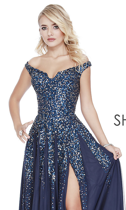 Image of long off-the-shoulder formal dress with sequins. Style: SK-12202 Detail Image 1