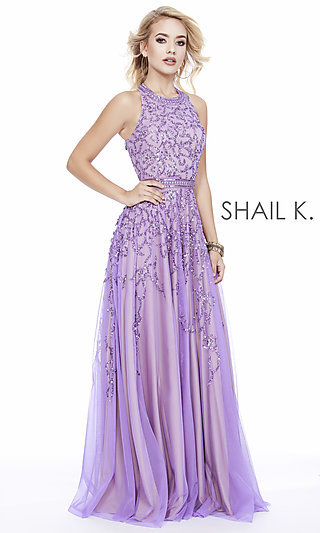 Long High-Neck Formal Gown with Beading