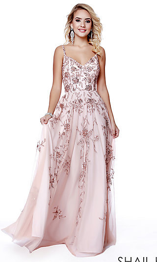 Beaded and Sequined Shail K. Long Formal Prom Dress