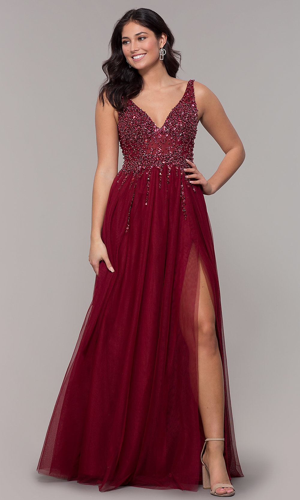 V-Neck Long Burgundy Tulle Prom Dress