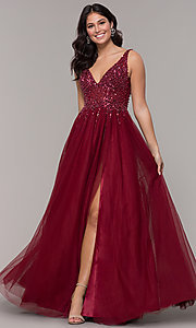 Image of beaded-bodice long tulle prom dress in burgundy. Style: NA-G272 Front Image