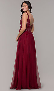 Image of beaded-bodice long tulle prom dress in burgundy. Style: NA-G272 Back Image