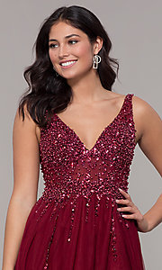 Image of beaded-bodice long tulle prom dress in burgundy. Style: NA-G272 Detail Image 1