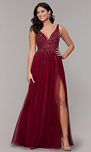 Image of beaded-bodice long tulle prom dress in burgundy. Style: NA-G272 Detail Image 3