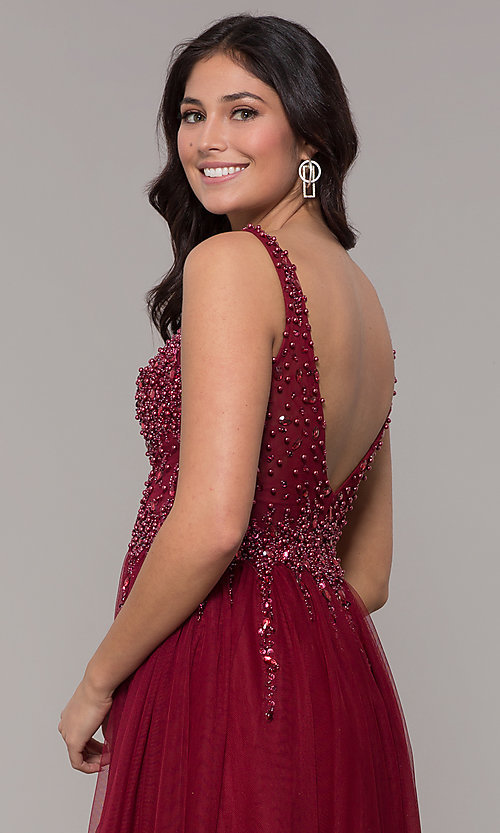 Image of beaded-bodice long tulle prom dress in burgundy. Style: NA-G272 Detail Image 2