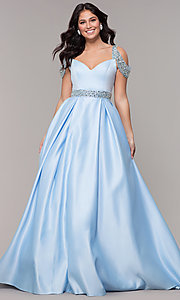 Image of cold-shoulder sweetheart long prom dress. Style: NA-R224 Front Image