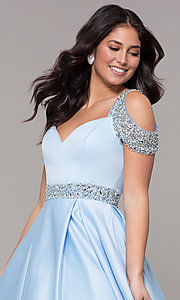 Image of cold-shoulder sweetheart long prom dress. Style: NA-R224 Detail Image 1