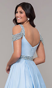 Image of cold-shoulder sweetheart long prom dress. Style: NA-R224 Detail Image 2