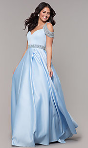 Image of cold-shoulder sweetheart long prom dress. Style: NA-R224 Detail Image 3