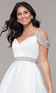 Image of cold-shoulder sweetheart long prom dress. Style: NA-R224 Detail Image 6