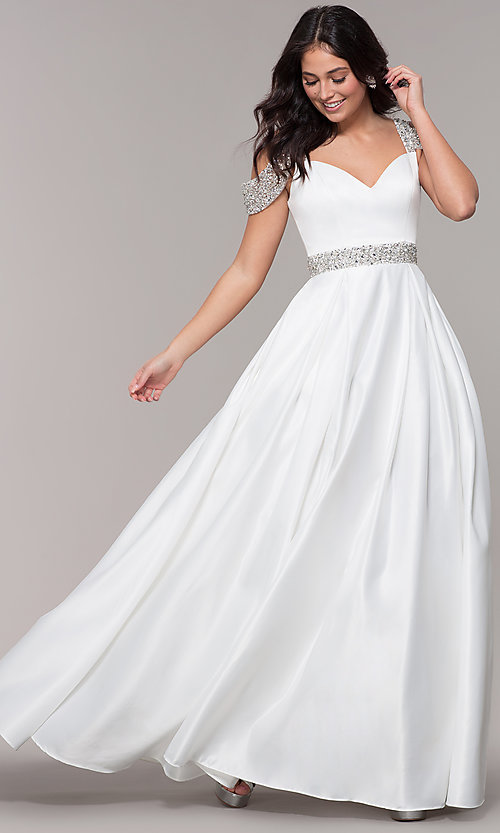 Image of cold-shoulder sweetheart long prom dress. Style: NA-R224 Detail Image 4
