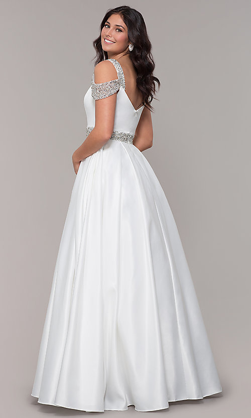 Image of cold-shoulder sweetheart long prom dress. Style: NA-R224 Detail Image 5