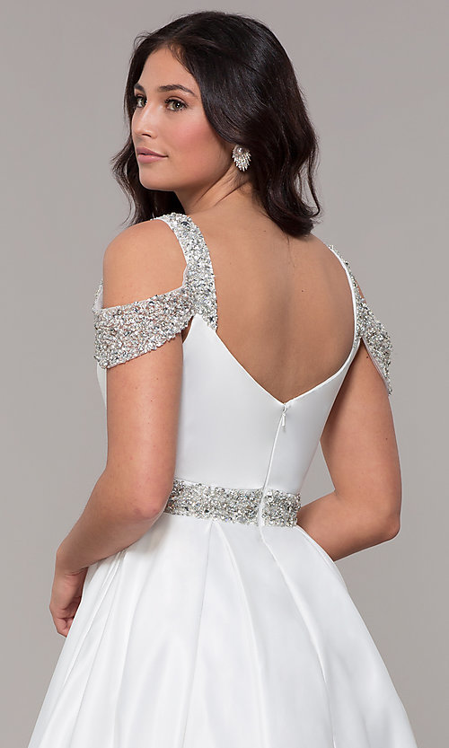 Image of cold-shoulder sweetheart long prom dress. Style: NA-R224 Detail Image 7